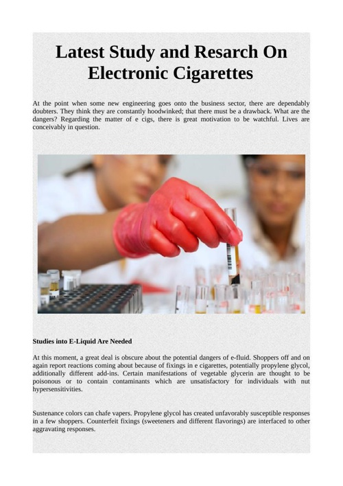 Latest Study and Resarch On Electronic Cigarettes