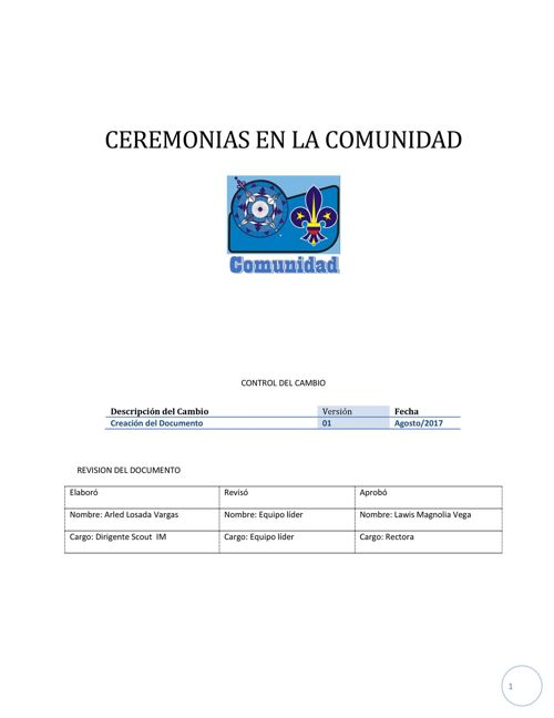 Instructivo Ceremonias de Comunidad
