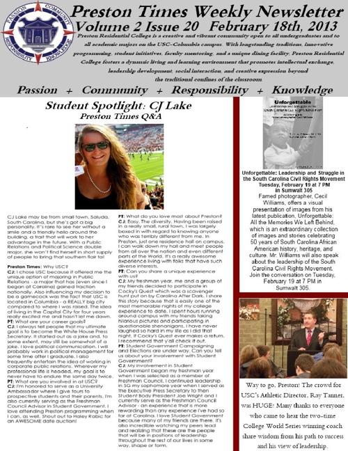 Preston Times weekly newsletter (02-18-13)
