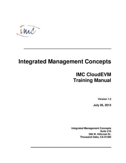 IMC CloudEVM Training Manual