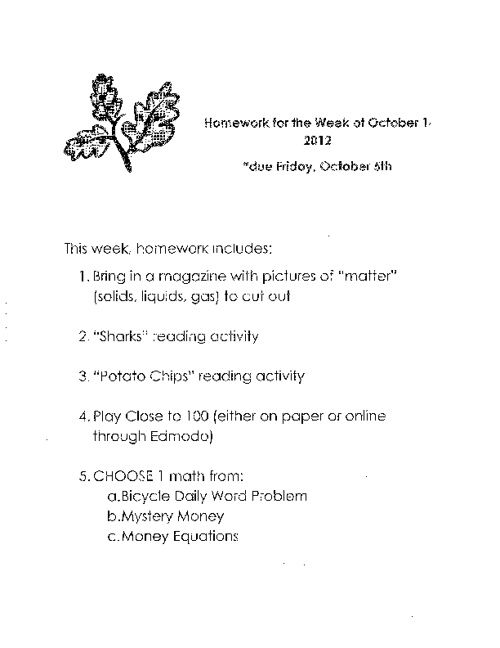 Homework for the week of October 1, 2012