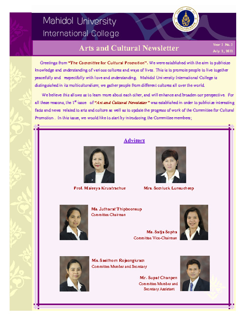 MUIC Arts and cultural Newsletter1