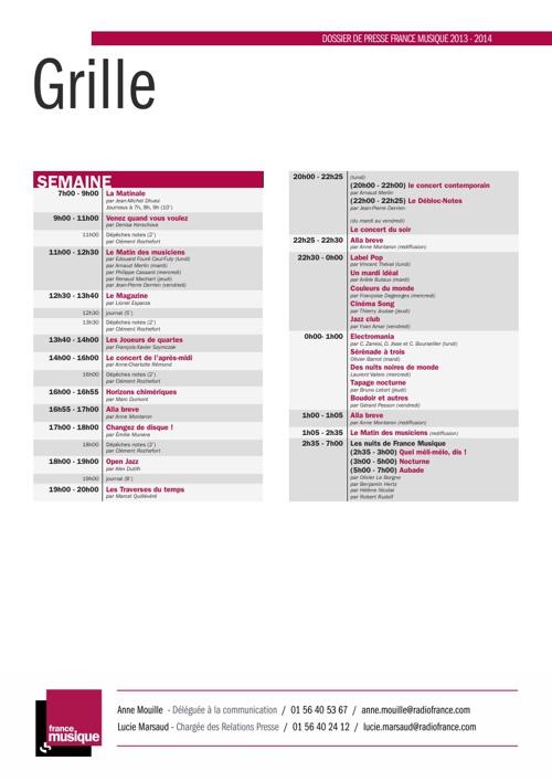 Grille des programmes de la Rentrée 2013