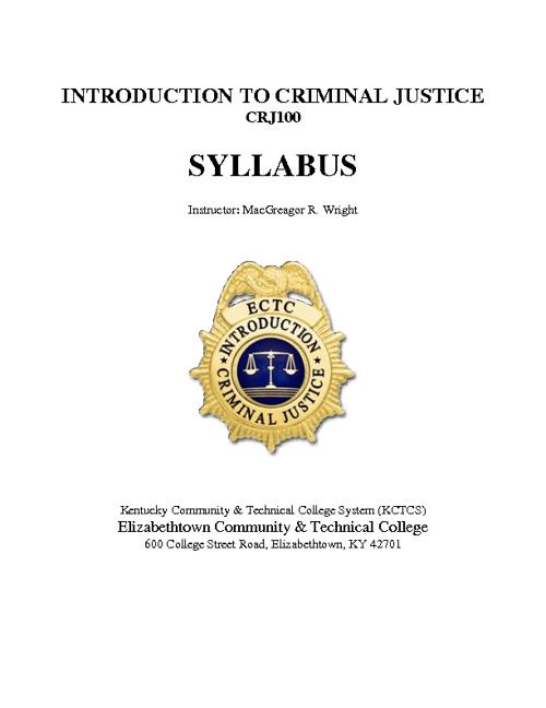 Introduction to Criminal Justice - CRJ100 (ECTC)