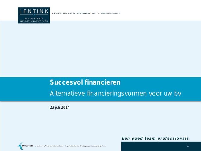 Advieswijzer Succesvol Financieren update