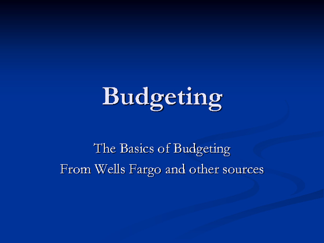Chapter 1  Budgeting