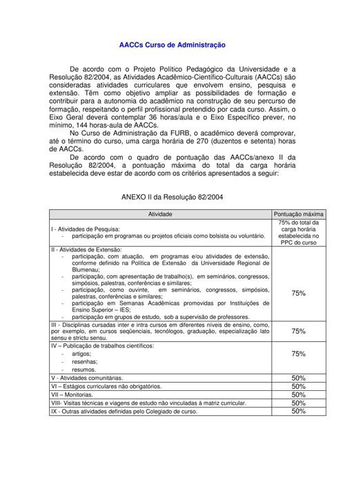 AACCs DO CURSO DE ADMINISTRAÇÃO