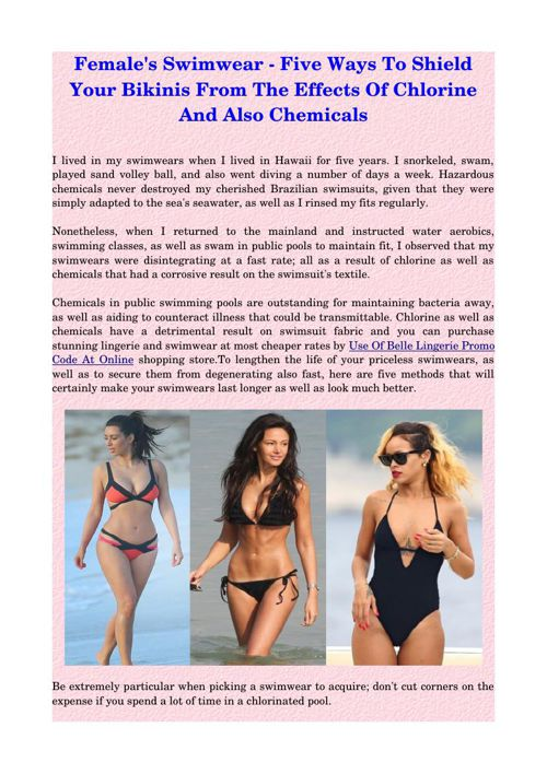 Female's Swimwear - Five Ways To Shield Your Bikinis From The Ef