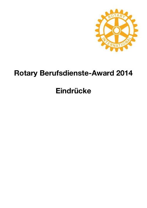 Pressestimmen zum Rotary Berufsdienste Award 2014