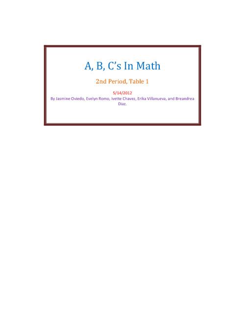 A, B, C's In Math