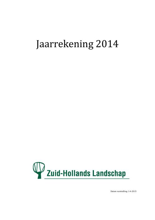 Jaarrekening Zuid-Hollands Landschap 2014
