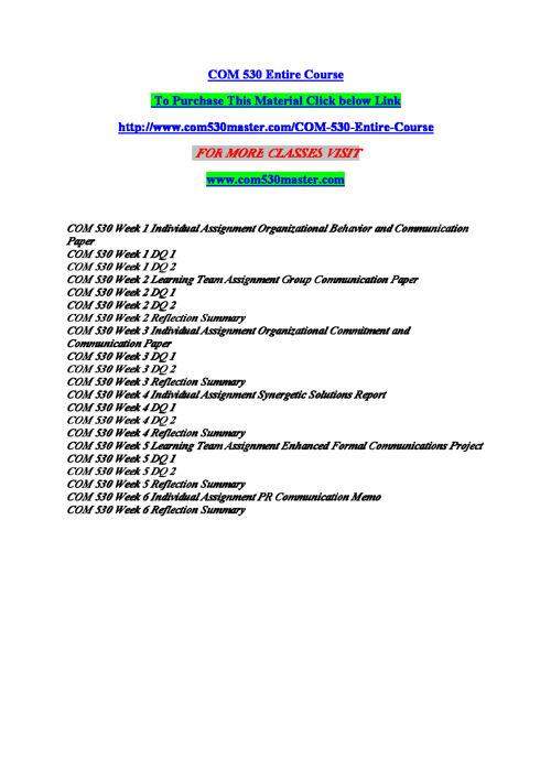 COM 530 Entire Course