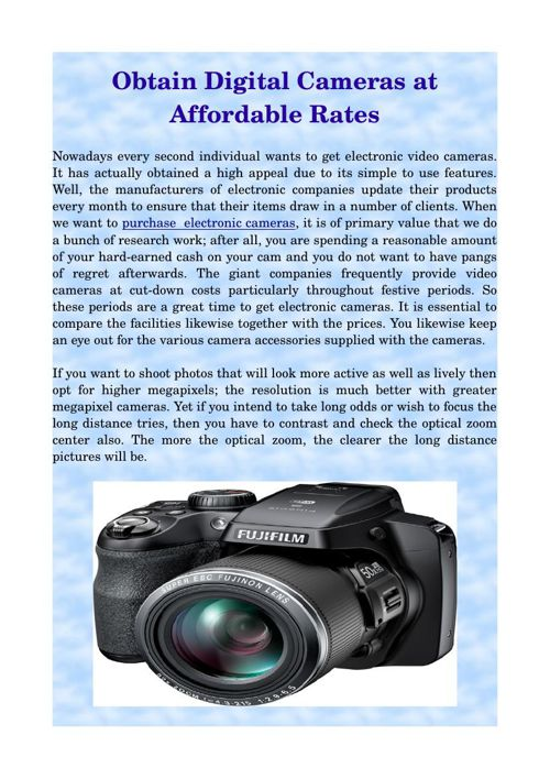 Obtain Digital Cameras at Affordable Rates