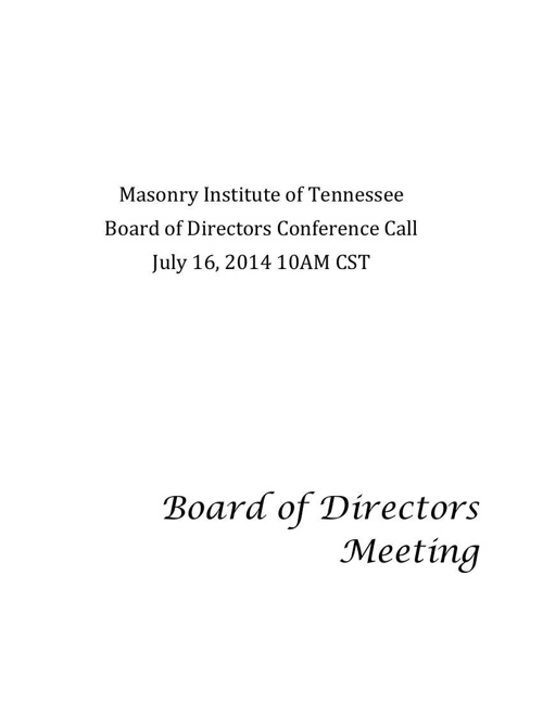 July 15th Board meeting