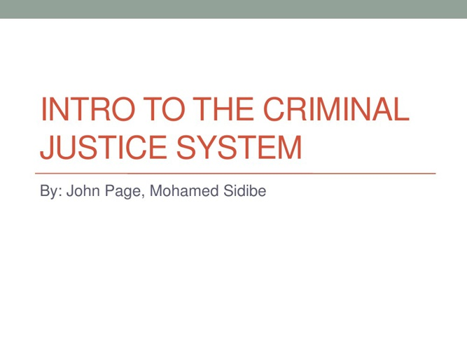 Intro to the criminal justice system