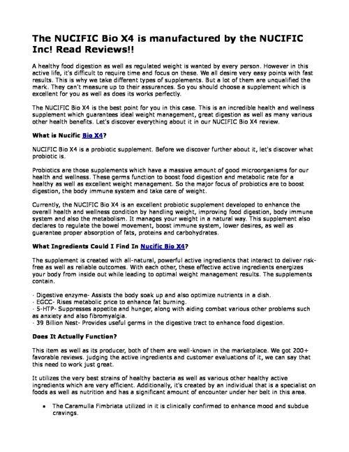 Nucific BIO X4 pdf