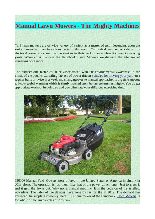 Manual Lawn Mowers - The Mighty Machines