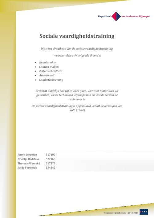Draaiboek sociale vaardigheidstraining
