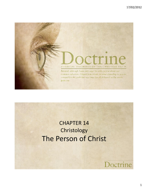 Chapter 14 - The Person of Christ
