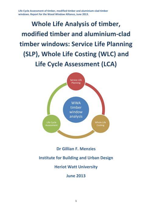 Wood Window Alliance Final report SLP WLC and LCA