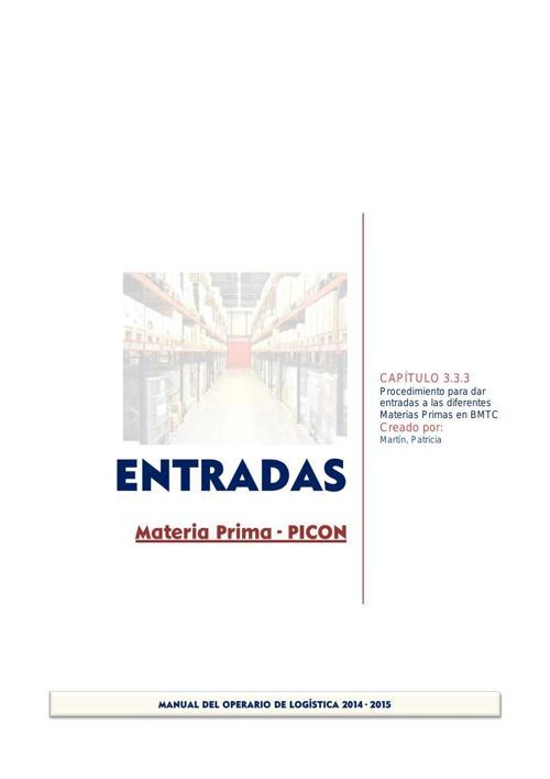 3.3_3 ENTRADAS Materia Prima PICON