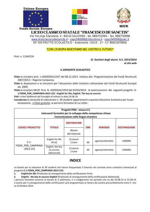 avviso alunni progetto C1 - 2014