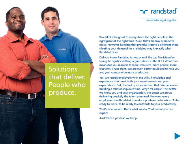 Randstad Manufacturing and Logistics Ebrochure