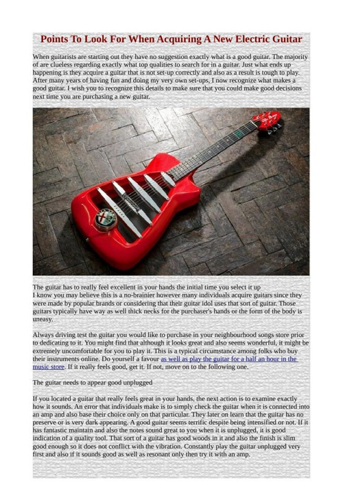 Points To Look For When Acquiring A New Electric Guitar