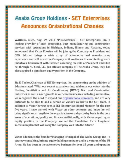 Asaba Group Holdings - SET Enterprises Announces Organizational
