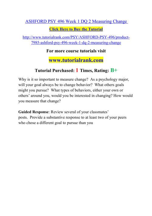 PSY 496 (ASH)  Course Career Path Begins / tutorialrank.com