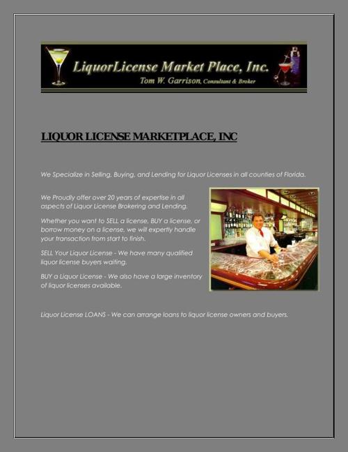 Buy Alcohol License lorida