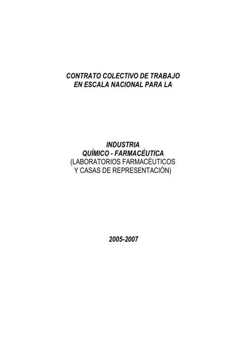 CONTRATO COLECTIVO INDUSTRIA QUIMICO-FARMACEUTICA
