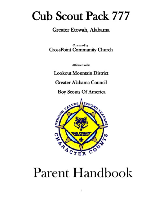Pack 777 Parent Handbook