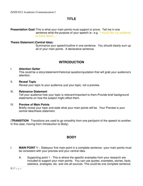 oral presentation outline format example | doctoral thesis statement, Presentation templates