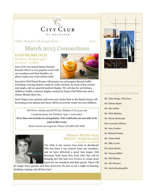 City Club of Buckhead March 2013 Newsletter