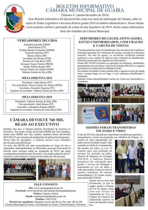 Boletim Informativo Câmara Municipal de Guaíra - Ano Legislativo