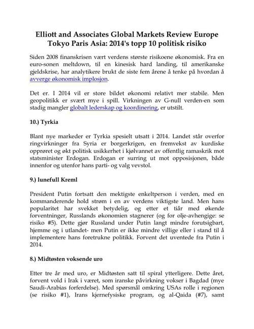Elliott and Associates Global Markets Review Europe Tokyo Paris