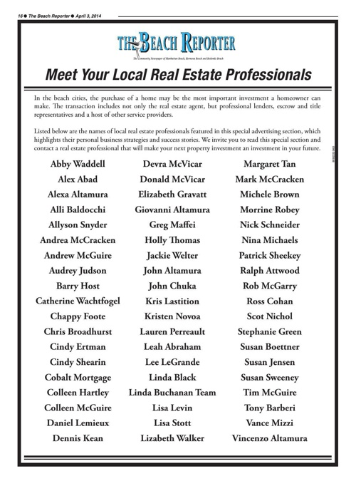 Meet your local Real Estate Professional - TBR Special Section