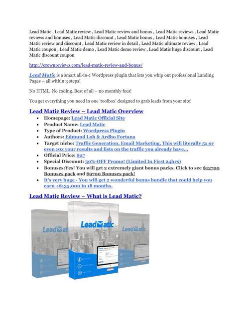 Lead Matic review & Lead Matic (Free) $26,700 bonuses