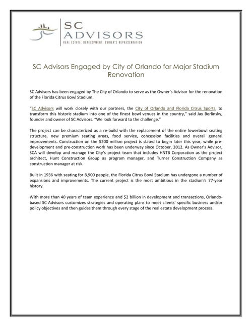 City of Orlando for Major Stadium Renovation
