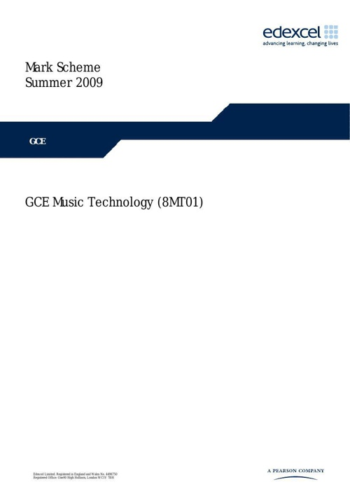 2009 6MT02 AS Listening Mark Scheme