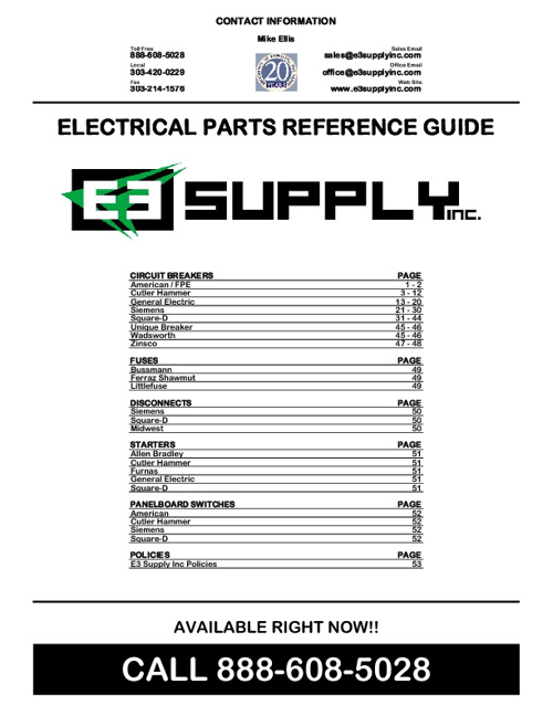 ELECTRICAL PARTS REFERENCE GUIDE