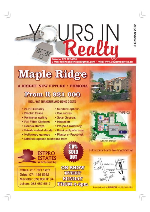 Yours in Realty 5 October 2012