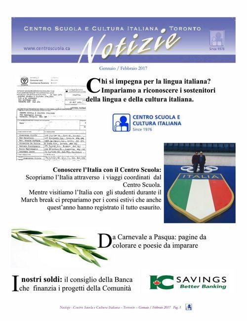 Notizie  del Centro Scuola - Toronto