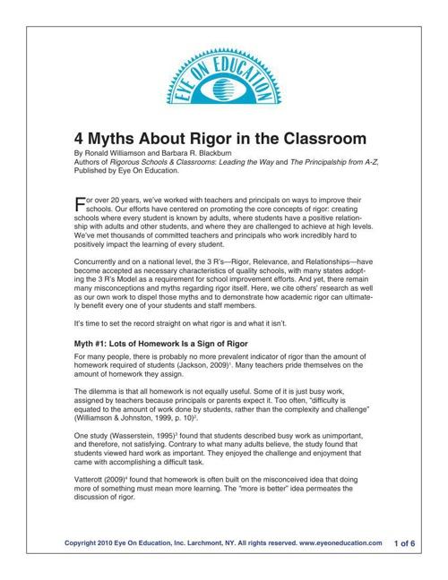 4 Myths of Rigor