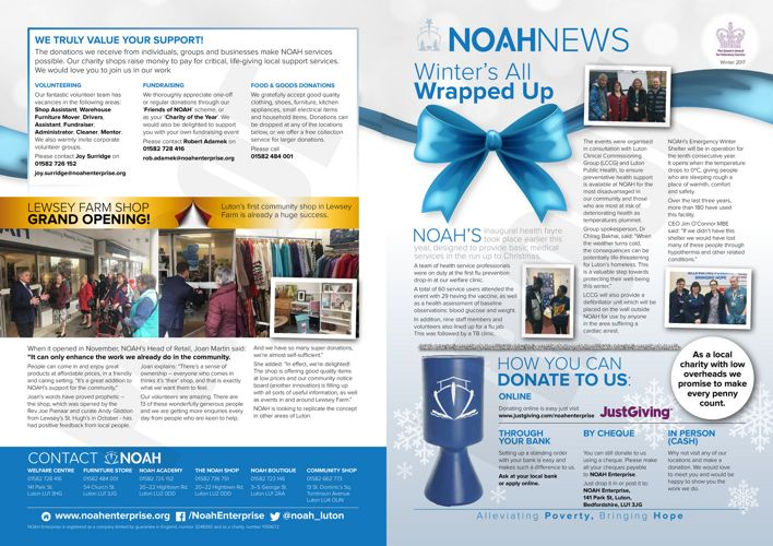 NOAH Newsletter Winter 2017/8