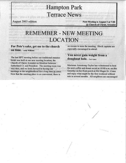 HPT Newsletter August 2003