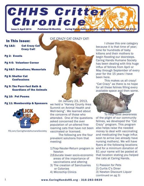 Critter Chronicle Newsletter - April 2014