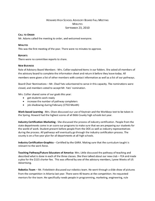 Standard 3 - Advisory Minutes