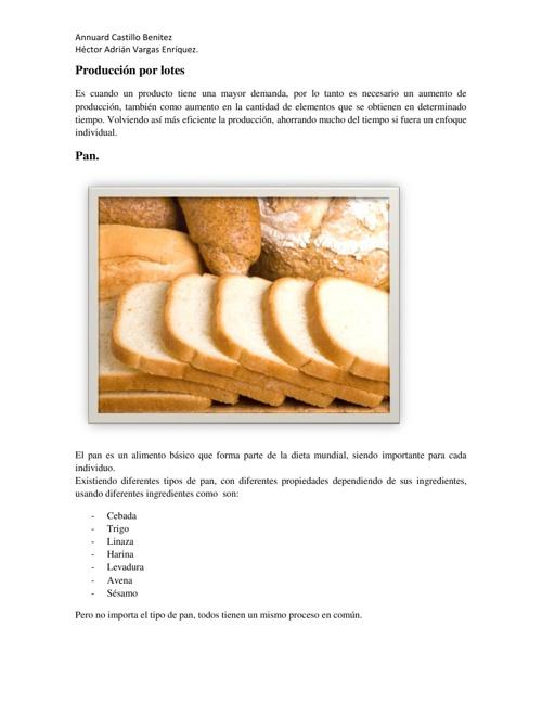 Producción por lotes de Pan